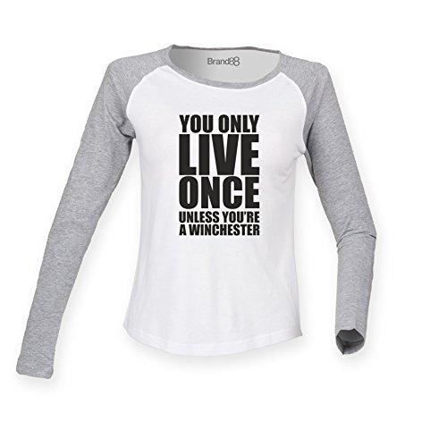 Brand88 - Unless You're A Winchester, Damen Langarm Baseball T-Shirt Weiss & Grau