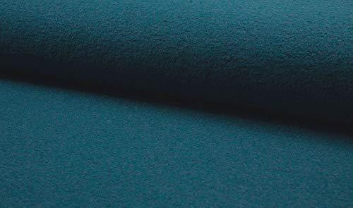 Qualitativ hochwertiger Mantelflausch, Wolloptik in unifarben Petrol als Meterware zum Nähen von Erwachsenen, Kinder und Baby Kleidung, 50 cm