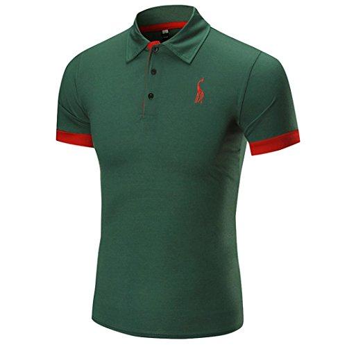 [M-2XL], Yogogo T-Shirt Herren Sommer Geschäft Premium Poloshirt Kurzarm Shirt V-Ausschnitt T-Shirt Sport Muskelshirt Crop Tops Oberteile Basic Tops Herren Slim Fit Regular Fit T-Shirt (M, Grün)