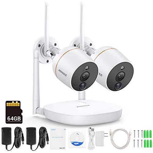 [Audio & PIR Sensor] ANNKE Wifi Überwachungskamera System Set HD 1080P 4CH Wireless NVR Überwachungssystem mit 2 Outdoor 1080P WLAN Kamera Überwachungsset, Zwei-Wege-Audio, eingebaute 64G TF-Karte