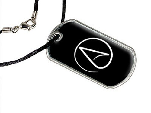 Atheismus Symbol–Atheist–Weiß auf Schwarz–Militärische Erkennungsmarke schwarz Cord Halskette