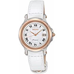Seiko SXDE42P2 - Ladies Watch - Analogue Quartz - White Leather Bracelet