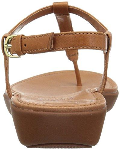 FitFlop Damen Tia Toe-Thong Sandals-Leather Peeptoe, Schwarz Brown (Caramel 098)