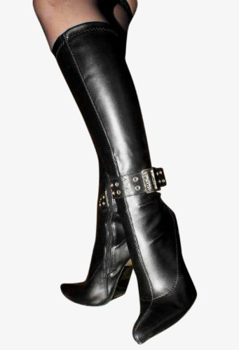 Erogance High Heels Kniestiefel, Bottes pour Femme Noir