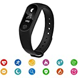 Easypro All Leading Smartphones Compatible Bluetooth M2 Fitness Band With Heart Rate Sensor Smart Band And Fitness Tracker (Black)