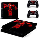 Skin Poster Deadpool Red Killer ThemeTheme Sticker for PS4, Console and 2 Controllers Skin Sticker Decal Skin Full Body Cove Set Compatible with 3M Skin Sticker Cover