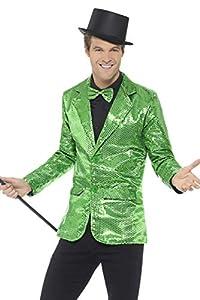 """Smiffys Chaqueta de lentejuelas, verde, para hombre, XL - Tamaño 46""""-48"""""""