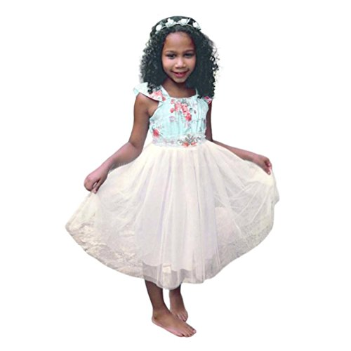 squarex Mädchen Kleid Kinder Mädchen Kleid, ärmellos, Blumenmuster mit Splice von Layered Sundress, Kinder, blau, 4-5 - 4t-kapuzen-handtuch