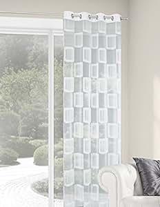 140x245 cm weiß white Vorhang Vorhänge Fensterdekoration Gardine Ösenschal Transparent Areta