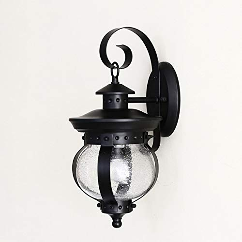 TMC Luz de Pared Lámpara de Pared de Cabeza Simple a Prueba de Agua al Aire Libre Retro de Estilo Europeo Lámpara de Vidrio de jardín de balcón Creativo Simple