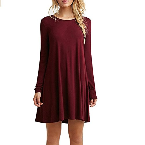 Znystar donna autunno sciolto manica lunga casual vestito (xx-large, vino rosso)