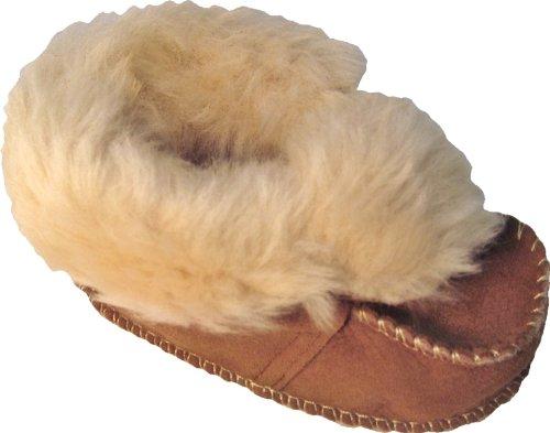 Plateau Tibet - VERITABLE laine d'agneau Bottines Chaussures Chaussons en cuir souple pour bébé garçon fille enfant 22 23 Chestnut (Marron)
