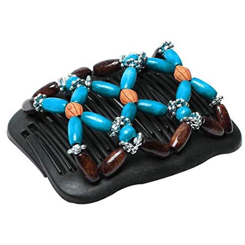 Luckiests Frauen-Magie-Haarspange Elastizität Doppel-Korn-String Clamp Stretchy Holzperlen Styling Werkzeuge Mädchen Hairpin Kopfbedeckung - Kunststoff-handwerk String