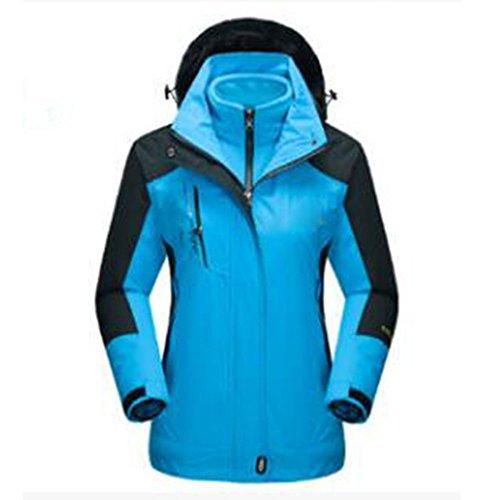 Winter Outdoors Damen Jacken Wasserdicht Winddicht Dreifach Jacken Zweiteilige Outdoor-Bergsteigen,Blue-XXL (Wear Jacke Wu)