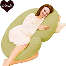 Coozly Premium Lyte C Shaped Pregnancy Pillow with 100% NEWD Cotton Stretch Detachable Cover - Beige
