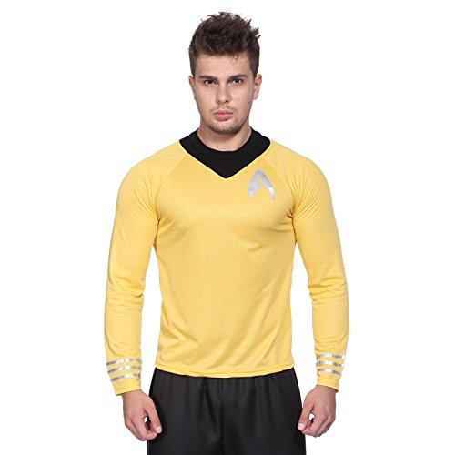 Anladia Gelb Gr.XL Star Trek Herren Maenner Fun T-Shirt Unform Shirt Spock Logic Kostuem Fasching Karneval Halloween
