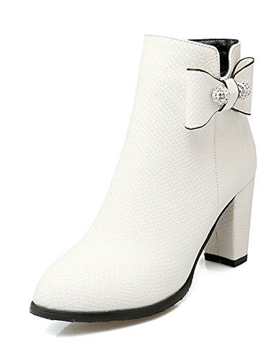3ca3f91d8e YE Damen Chunky High Heels PU Leder Stiefeletten mit Blockabsatz und  Schleife Glitzer Strass Bequeme Elegant Herbst Winter Boots Schuhe Weiß