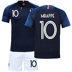 LJP FFF Football Coupe du Monde Ensemble Français équipe Champion Maillot 2018 Coupe du Monde Deux étoiles avec Shorts,No.10,22