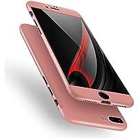 iPhone 6Plus caso, aicase aicase 3en 1ultra fina y delgada duro PC caso anti-arañazos Premium Slim 360Grado de cuerpo completo cubierta protectora para Apple Iphone 8Plus 5.5Inch (2017), color oro rosa
