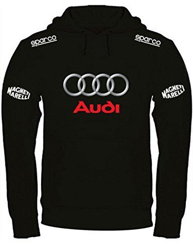 Sweat à Capuche Audi imprimé à la Main (l, Noir)