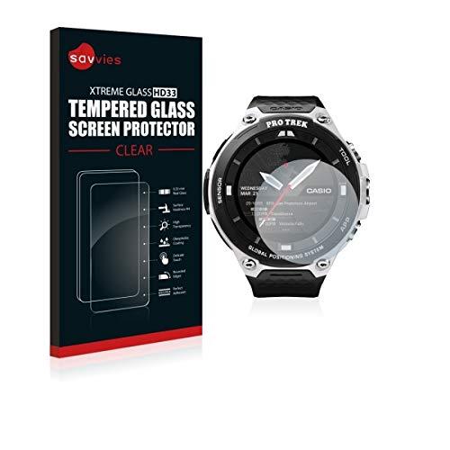 Savvies HD33 Tempered Glass - Displayschutz für Casio Pro Trek Smart WSD-F20 (extrem Kratzfest (9H), hohe Transparenz, schmutzabweisend, abgerundete Kanten)