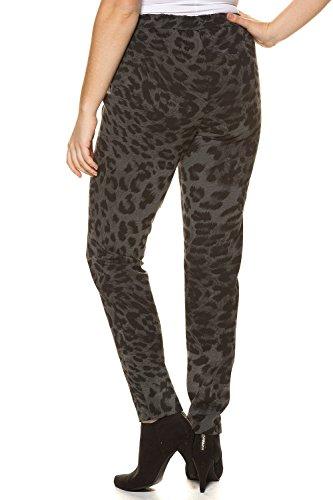 Ulla Popken Femme Grandes tailles | Legging en jersey imprimé léopard ceinture élastiquée | 713724 Gris chiné