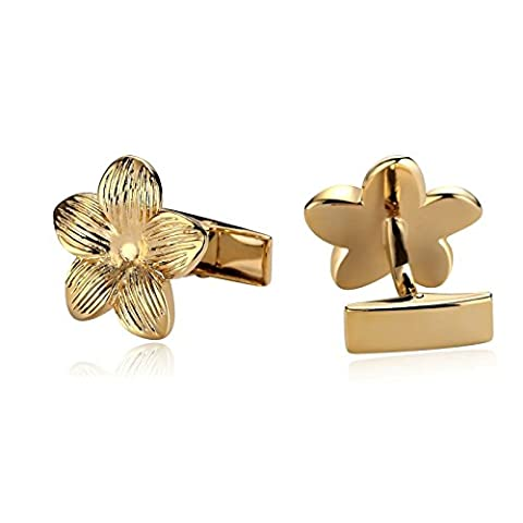 Epinki Luxury French Tuxedo Shirt Cufflinks for Men Stainless Steel 5 Petals Flower Gold