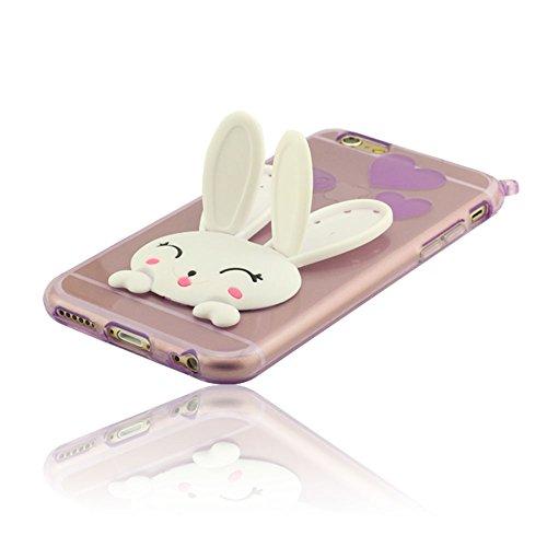 iPhone 6 6S Coque Avec Sangle, Mignon Lapin ( Oreilles Peuvent Se Déplacer ), Housse étui pour iPhone 6 6S 4.7 Pouce ( iPhone 6 Plus 6S Plus 5.5 Pouce Pas S'adapter ), Flexibles Doux TPU Matériel Skin Pourpre