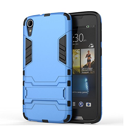 HTC Desire 828 Fall, 2 In 1 New Armour Tough Art Hybrid Dual Layer Rüstung Defender PC Hard Cases Mit Ständer Stoß- Fall Für HTC Desire 828 ( Color : Blue Black , Size : Htc 828 ) Blue