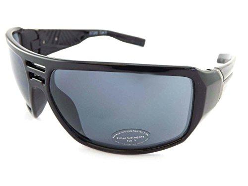 Preisvergleich Produktbild Stein Wrap Sonnenbrille poliert schwarz mit Gunmetal und dunkelgrau Cat. 3 Objektiv ST200