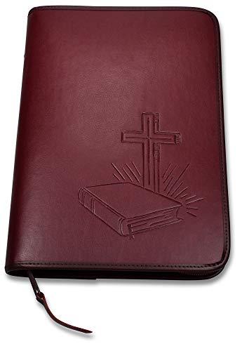 Uljö Hochwertige Bibelhüllen mit Motiv-Prägung Bibel/Kreuz (groß, Rot)