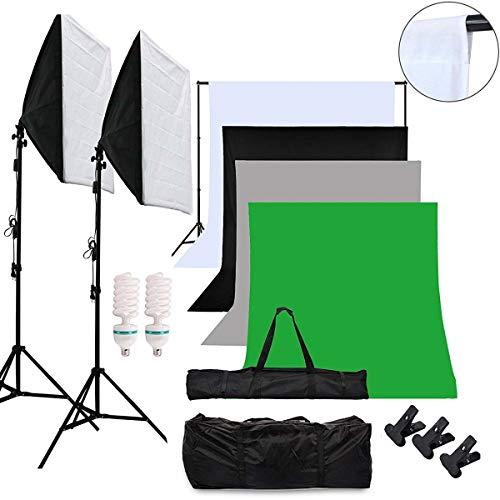 OUBO Profi Fotostudio Set Tageslichtlampe Studiosets Greenscreen Set Fotoleinwand Hintergrund inkl. 50 * 70cm Dauerlicht Softbox 4X Hintergrundstoff(Schwarz, weiß grau, grün) Schutztasche