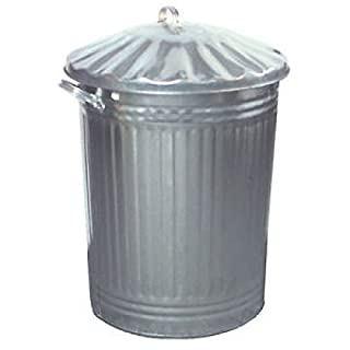 Small Medium Large 15L 60L 90L Litre Metal Galvanised Home Garden Bin Leaves Paper Wood Rubbish Dustbin Made In U. K. (Medium 60L Silver Bin)