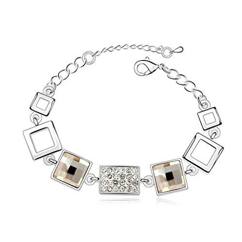 Aooaz placcato in oro bianco braccialetto per le donne, matrimonio bracciale a maglies CZ cristallo (Piazza Della Catena Del Serpente Bracciale Catena)