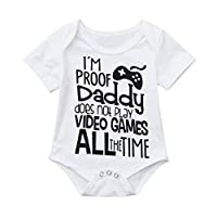LANSKIRT-Baby Boys Girl Romper for 0-18 Months Old,Toddler Infant Christening Short Sleeve Letter Print One Pieces Summer Unisex Soft Baby Outfit Cotton Breathable Jumpsuit Clothing Sets White