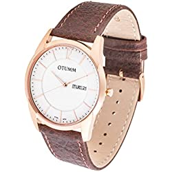 OTUMM Slim - 41 mm Rose Gold Brown Leather Analog Quartz Men's Watch XL Leather 07256
