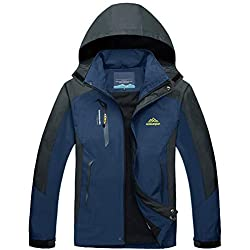 TACVASEN Outdoor Jacket Mens Waterproof Mountain Lightweight Winter Jacket Men Warm Ski Snow Travel Coat Hood Showerproof Mountain Rain Coat Denim Blue