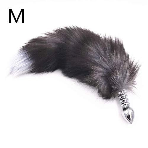 Anál Plug aus Edelstahl in 3 Größen zur Auswahl, BH.Tunnel, Tier-Fun-Store Bead Big Plush Tail Séx Spielzeug für Frauen ()