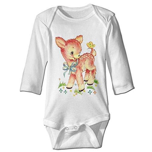 Monicago Neugeborenes Baby Jungen Mädchen Babybody Langarm, Baby Boys Girls Bodysuit Cute Deer Jumpsuit Onesies Long Sleeve Unisex