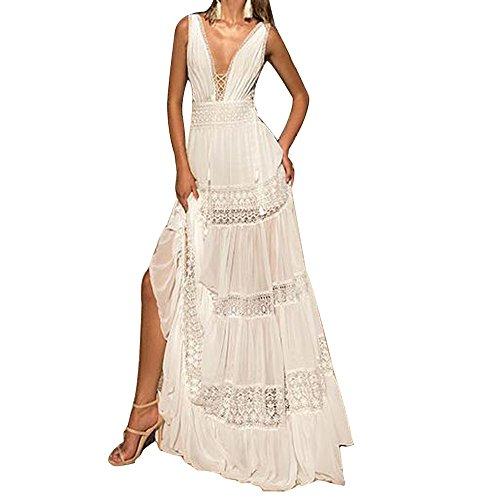 VIKEBRIDAL Damen Luxus V-Ausschnitt Chiffon A-Linie Taille Strand Hochzeitskleid Weiß 40