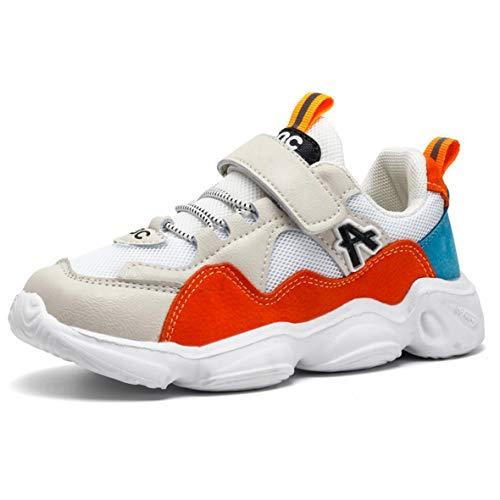 ZXSFC Mädchen Sportschuhe Jungen Sneaker Mädchen Turnschuhe Kinderschuhe Jungen Laufschuhe Mädchen Hallenschuhe Jungen Fitnessschuhe Outdoor Schuhe Weiße Orange 28