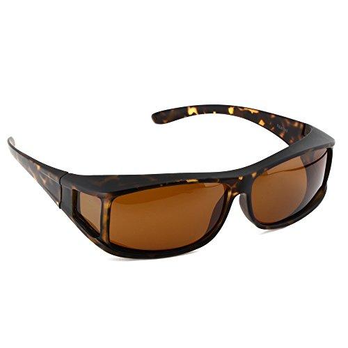 ACTIVE SOL Überzieh-Sonnenbrille für Herren | Sonnen-Überbrille UV400 | polarisiert | Fit-over Polbrille für Brillenträger (schildpatt)
