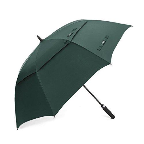 G4Free 62 Inch Automatische Öffnen Golf Schirme Extra große Übergroß Doppelt Überdachung Belüftet Winddicht Wasserdichte Stock Regenschirme (Dunkelgrün)