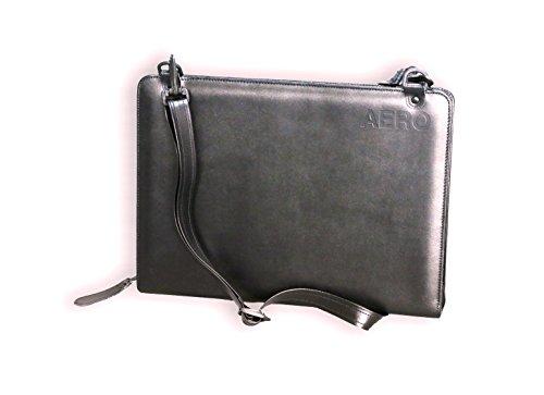 Multifunktionale Businesstasche (echt Leder) für Männer: Schreibmappe (A4), Portfolio, Umhängetasche, Aktentasche, Büchertasche, 2-Fächer für Tabletts, etc. inkl. rundum Reißverschluss