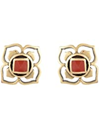 Estelle Gold Plated Stud Flower Earring Set|Earing In Black And Red Colour Ladies Women Tops Jewelry|Simple Small...