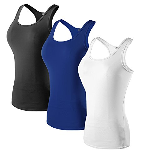 Sport Yoga TankTops Damen Workout 3 Packs Dry Fit Kompression Running Fitness T-Shirt Schwarz Blau Weiß Tag(L)=EUR M