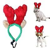 Fascia di Antlers della renna di natale dell'animale domestico con le orecchie lunghe Ornamenti del puntello del partito per il gatto del piccolo cane (cappello dell'animale domestico)