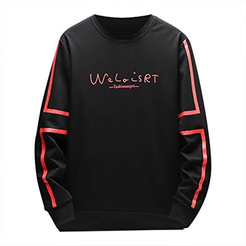 Malloom-Bekleidung Männer Brief Drucken Beiläufige Slim Fit Langarm Hoodies Sweatershirt Tops Brief Langarm Capless Rundhalspullover Welaisrt (Sweatshirt Gap Männer)