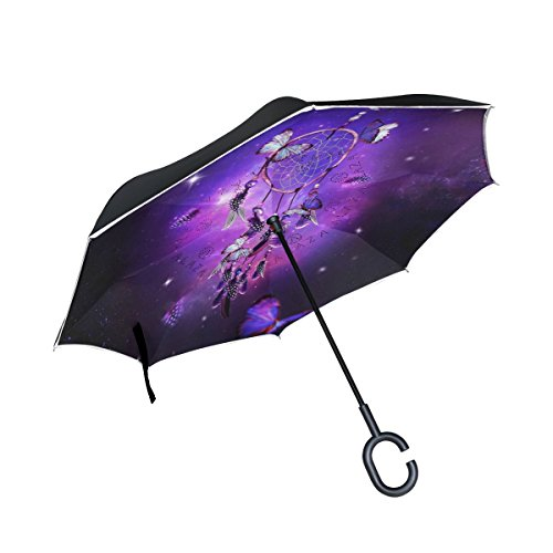 JSTEL Doble Capa Invertida Atrapasueños Galaxy Paraguas Coches Reverse Resistente al Viento Lluvia Paraguas para Coche al Aire Libre con asa en Forma de C