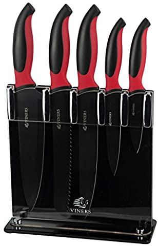 Viners Blaze Knife Block 5 Piece Modern Black & Red Non Stick Stainless Steel Knife Block Set